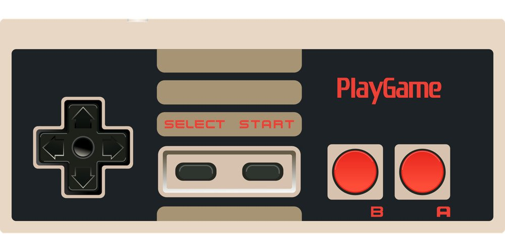 2D pixel art of video game controller similar to the Nintendo